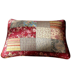 Tache Cotton Patchwork Beige Burgundy Paisley Floral Fairy Tale Tea Party Pillow Sham (DXJ103443) - Tache Home Fashion