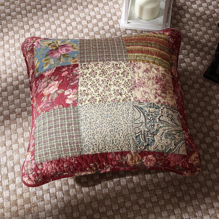 Tache Cotton Patchwork Beige Burgundy Paisley Floral Fairy Tale Tea Party Cushion Cover 2-Pieces (DXJ103443) - Tache Home Fashion