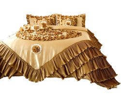 Tache Golden Caramel Latte Satin Ruffle Comforter Set (BM4578) - Tache Home Fashion