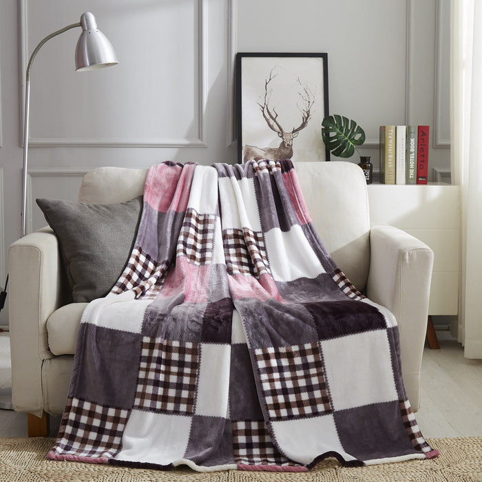 Tache Autumn Pink Farmhouse Super Soft Plaid Patchwork Throw Blanket (4022) - Tache Home Fashion