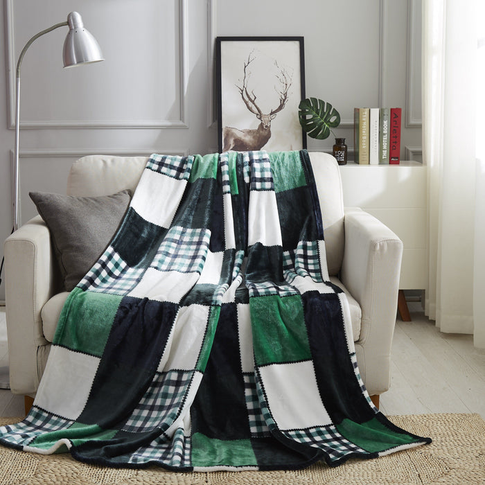 Tache Forest Green Farmhouse Super Soft Plaid Patchwork Throw Blanket (4023) - Tache Home Fashion