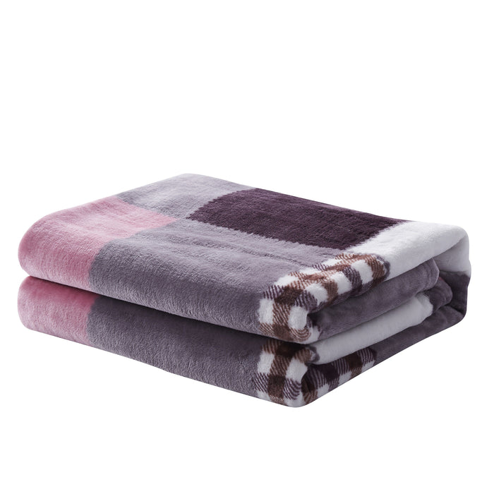 Tache Autumn Muave Purple Pink Farmhouse Super Soft Plaid Patchwork Throw Blanket (4022) - Tache Home Fashion