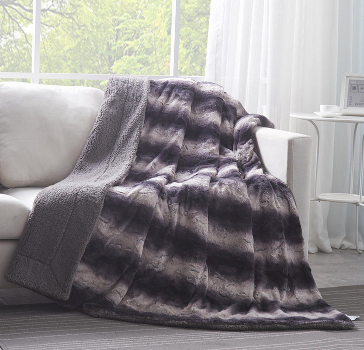 Tache Luxury Black Striped Faux Fur Throw Blanket (DY06) - Tache Home Fashion