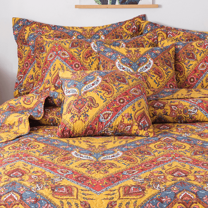 Tache Mustard Yellow Blue Red Paisley Chevron Hanging Gardens Cushion Cover 2-Pieces (HS3148Y) - Tache Home Fashion
