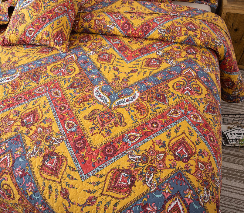 Tache Mustard Yellow Blue Red Paisley Chevron Hanging Gardens Bedspread (HS3148Y) - Tache Home Fashion