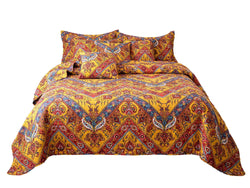 Tache Hanging Gardens Boho Chic Colorful Paisley Chevron Bedspread Quilt Set (HS3148Y) - Tache Home Fashion