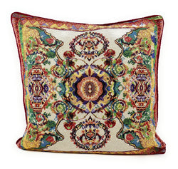 Tache Elegant Ivory Colorful Ornate Paisley Woven Tapestry Cushion Throw Pillow Cover (18193)