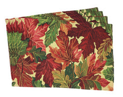 Tache 4 Pc Warm Colorful Thanksgiving Leaves Fall Foliage Tapestry Placemat Set (4PC-PM-FF) - Tache Home Fashion