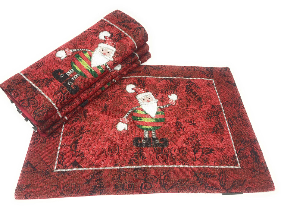 Tache Here Comes Santa Claus Vintage Holiday Woven Tapestry Placemat (8577PM) - Tache Home Fashion