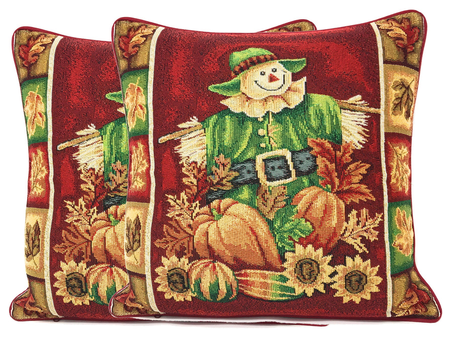 Tache Pumpkin Patch Scarecrow Autumn Harvest Woven Tapestry Cushion Covers (12921CC) - Tache Home Fashion