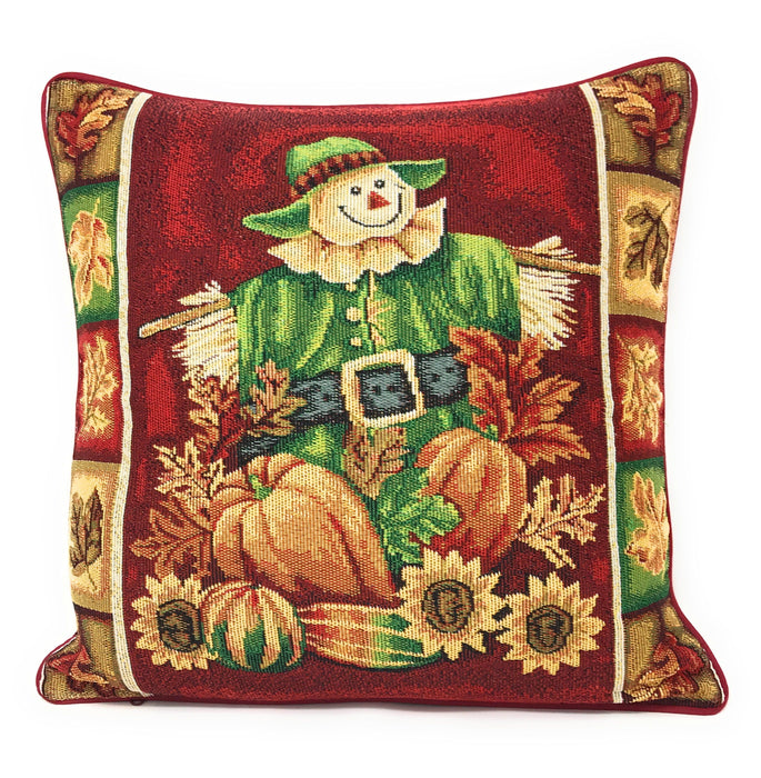 Tache Pumpkin Patch Scarecrow Autumn Harvest Woven Tapestry Cushion Covers (12921CC)
