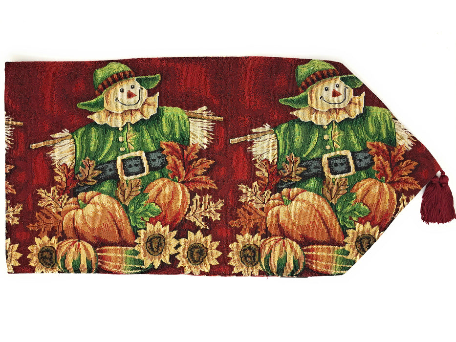 Tache Pumpkin Patch Scarecrow Autumn Harvest Woven Tapestry Table Runners (12921TR)