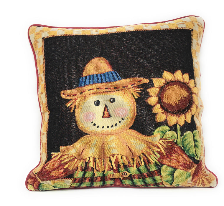 Tache Sunflower Field Scarecrow Autumn Harvest Woven Tapestry Cushion Cover (11712CC) - Tache Home Fashion