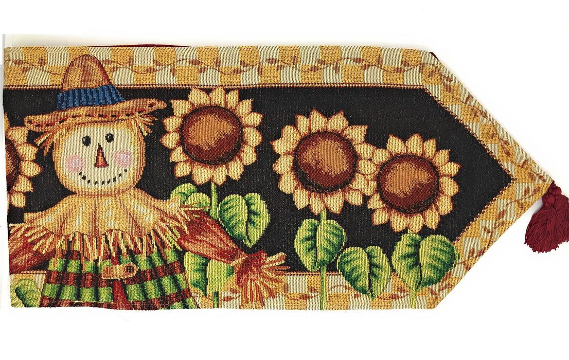 Tache Sunflower Field Scarecrow Autumn Harvest Woven Tapestry Table Runners (11712TR) - Tache Home Fashion
