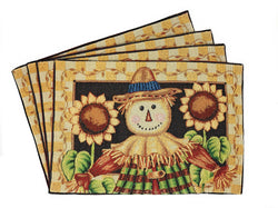 Tache Sunflower Field Scarecrow Autumn Harvest Woven Tapestry Placemats (11712PM) - Tache Home Fashion