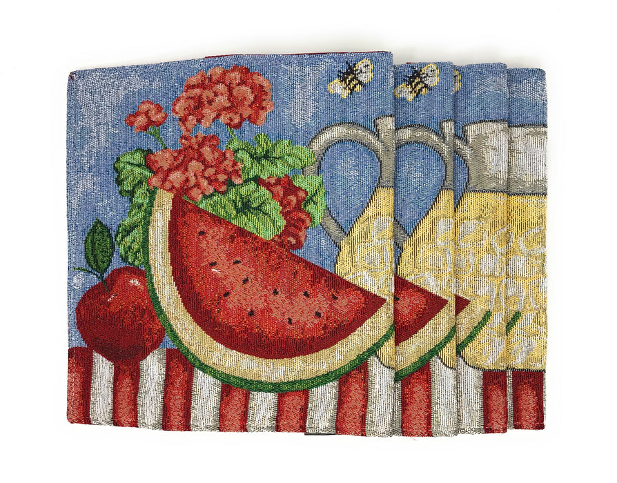 Tache Fruity Drinks Watermelon Lemonade Woven Tapestry Placemat (13082PM) - Tache Home Fashion