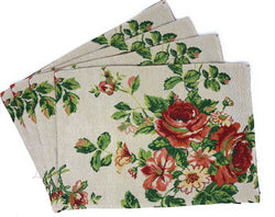 Tache Sweet Roses Vintage Ivory Woven Tapestry Placemats (17593PM) - Tache Home Fashion