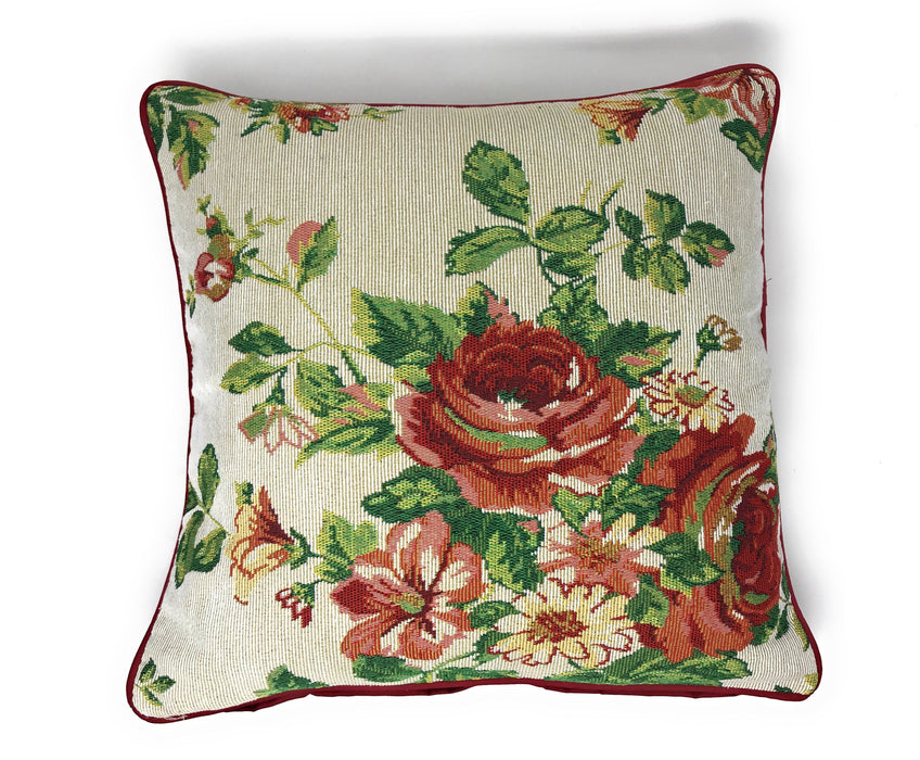 Tache Sweet Roses Vintage Ivory Woven Tapestry Cushion Covers (17593CC) - Tache Home Fashion