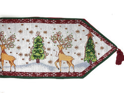 Tache White Christmas Winter Forest Reindeer Vintage Holiday Woven Tapestry Table Runners (9192TR) - Tache Home Fashion