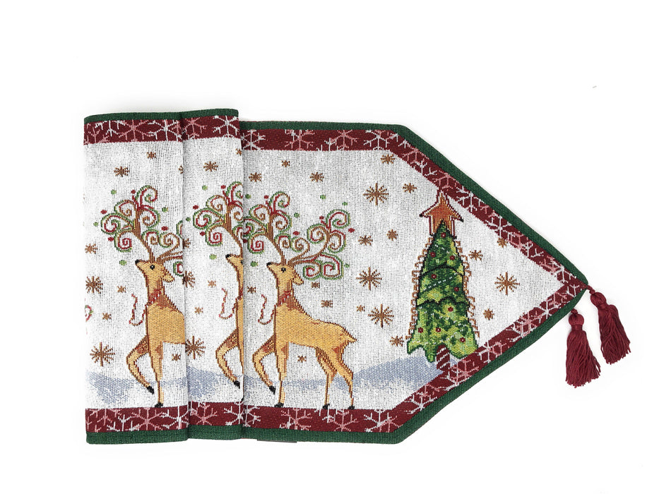 Tache Winter Forest Reindeer Vintage Holiday Woven Tapestry Table Runners (9192TR)