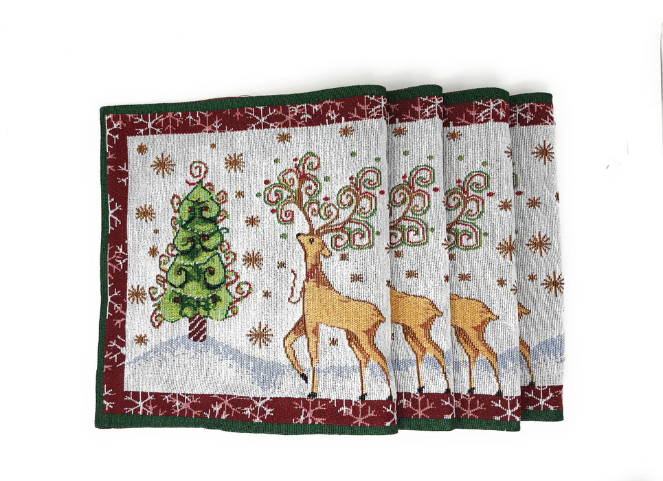 Tache Winter Forest Reindeer Vintage Holiday Woven Tapestry Placemats (9192PM) - Tache Home Fashion