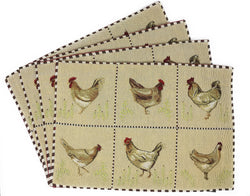 Tache Country Farmhouse Rooster Hens Woven Tapestry Placemat (13139PM) - Tache Home Fashion