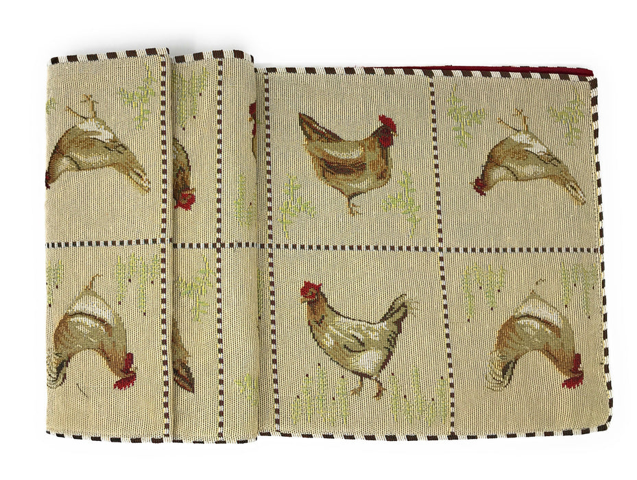 Tache Country Farmhouse Rooster Hens Woven Tapestry Table Runners (13139TR) - Tache Home Fashion