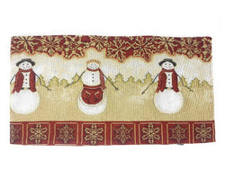 Tache Mr. & Mrs. Snowman Couple Woven Tapestry Table Runners (10323TR) - Tache Home Fashion