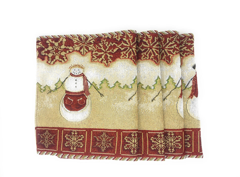 Tache Mr. & Mrs. Snowman Couple Woven Tapestry Placemats (10323PM) - Tache Home Fashion