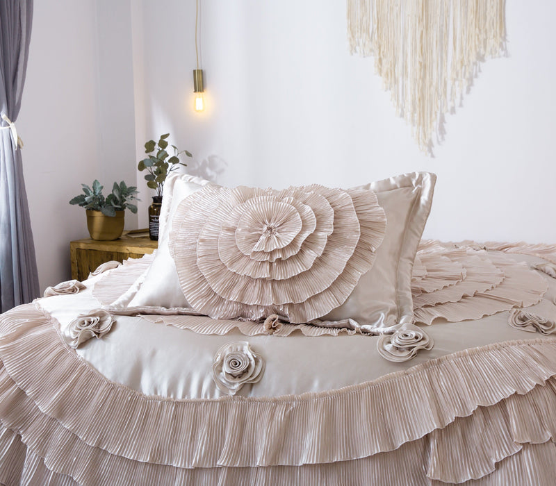 Tache 6 Piece Luxury Floral Faux Satin Frosted Field in Beige Comforter Set (MZ1051) - Tache Home Fashion