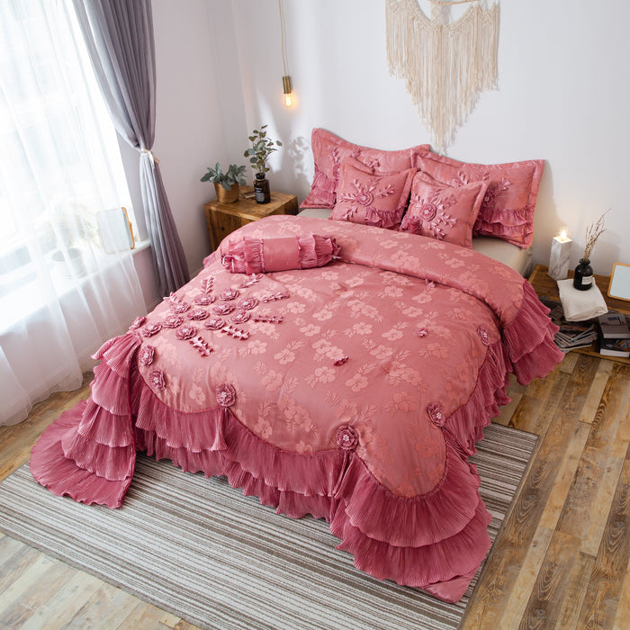 Tache 6 PC Floral Royal Princess Dream Solid Pink Ruffle Comforter Set (BM1227) - Tache Home Fashion