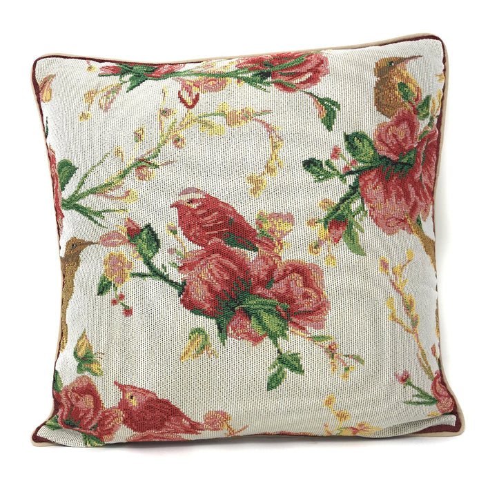 Tache Floral Red Roses Birds Ivory Woven Tapestry Cushion Throw Pillow Cover, 16x16 (18109) - Tache Home Fashion