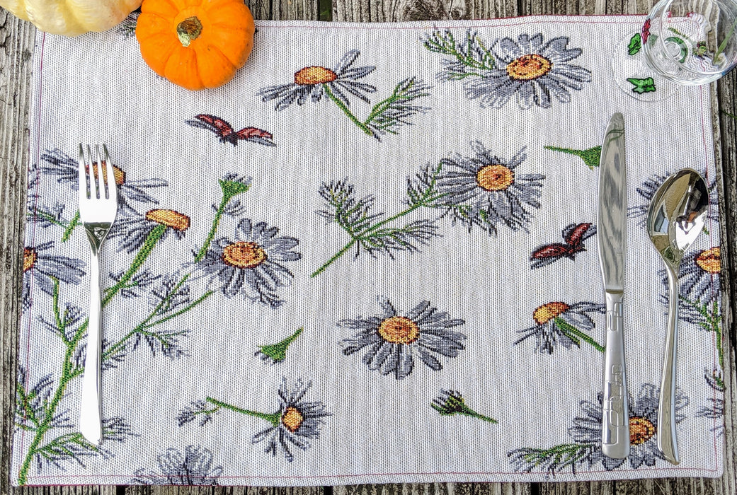Tache Floral Daisies Ladybugs Woven Tapestry Placemats (18114)
