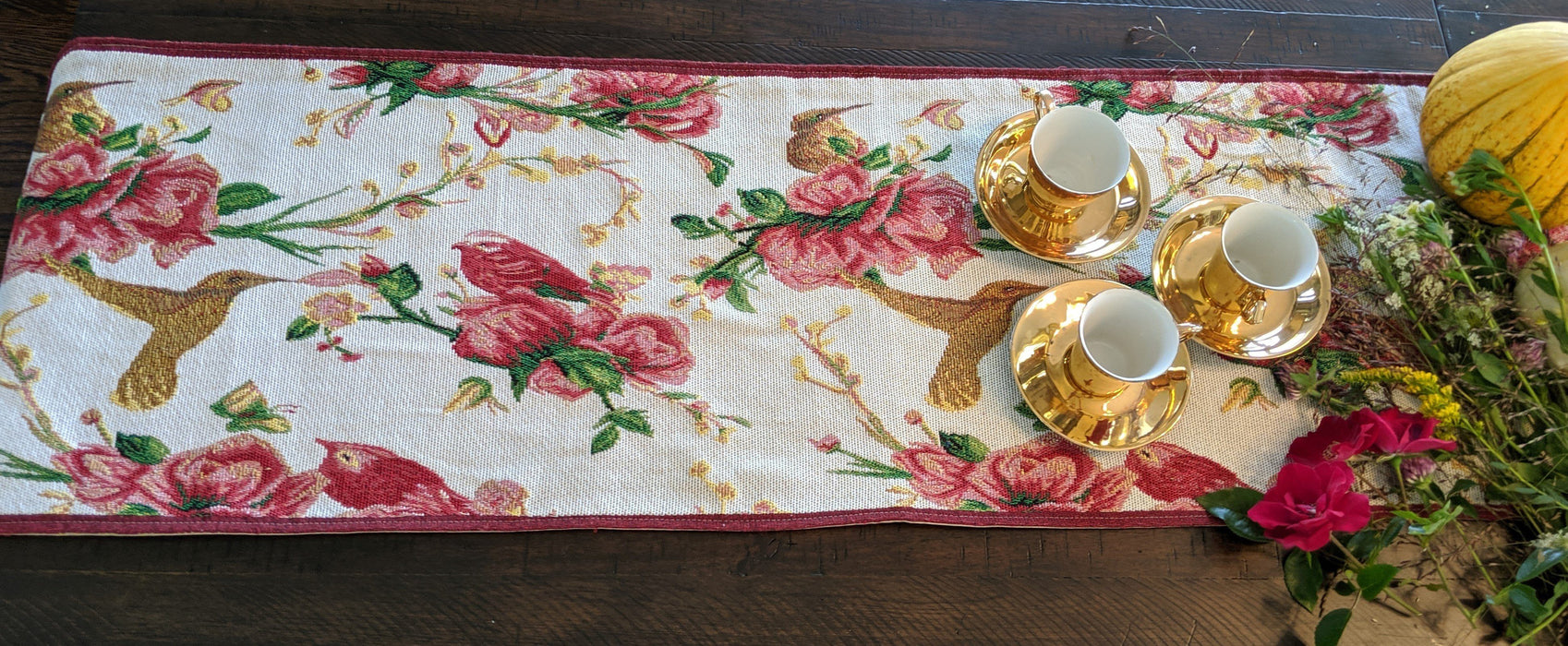 Tache Floral Red Roses Birds Ivory Woven Tapestry Table Runner (18109) - Tache Home Fashion