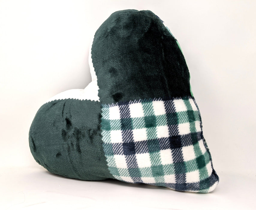 Tache Handmade Forest Green Plaid Heart Shape Throw Pillow (4023) - Tache Home Fashion