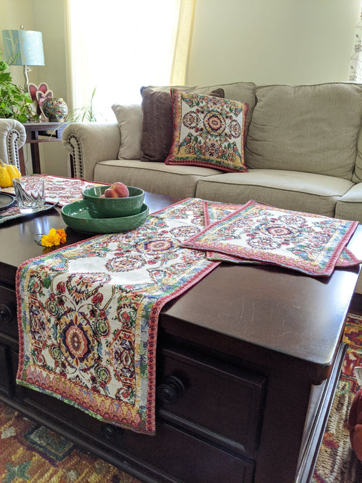 Tache Elegant Ivory Colorful Ornate Paisley Woven Tapestry Table Runner (18193)