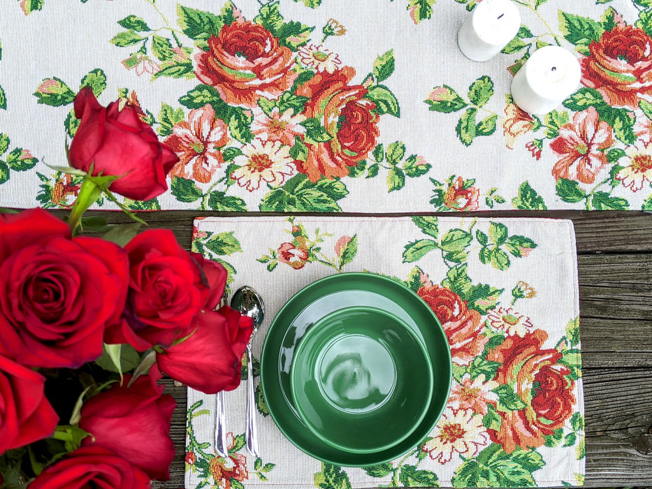 Tache Sweet Roses Vintage Ivory Woven Tapestry Placemats (17593PM)