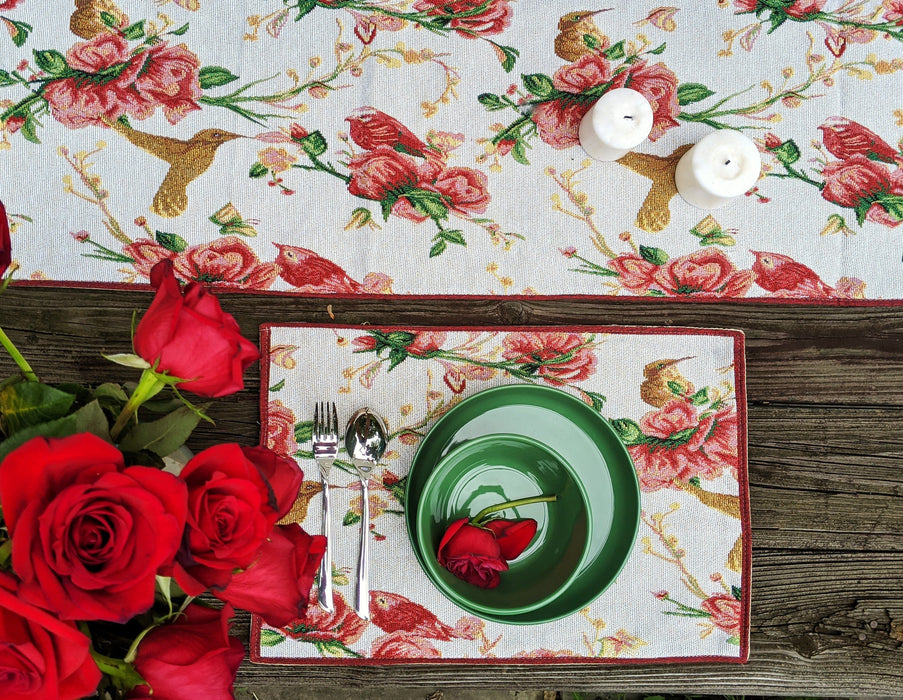 Tache Floral Red Roses Hummingbirds Woven Tapestry Placemat Set of 4 (18109)
