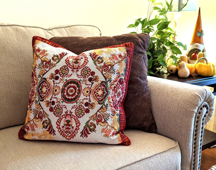 Tache Elegant Burgundy Ornate Paisley Woven Tapestry Cushion Throw Pillow Cover (18194)