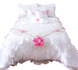 Tache Ruffle Floral Lace Satin White Pink Luxury Delicate Rose Comforter Set (MA125)