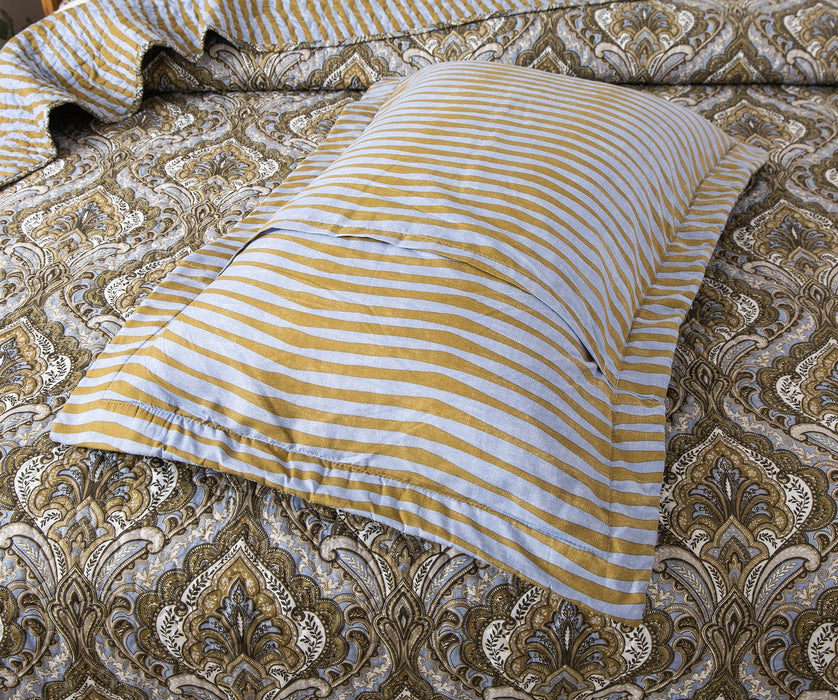 Tache Olive Green Light Blue Paisley Striped Bohemian Spades Pillow Sham 2-Pieces (SD-42) - Tache Home Fashion