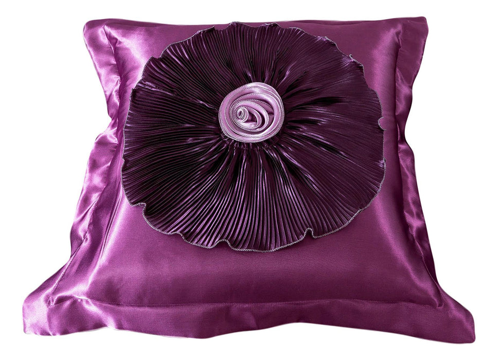 Tache Satin Ruffle Dark Purple Midnight Bloom Euro Sham (BM6438) - Tache Home Fashion