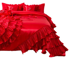 Tache Red Rose Satin Ruffle Floral Romantic Victorian Comforter Set (HY4174)