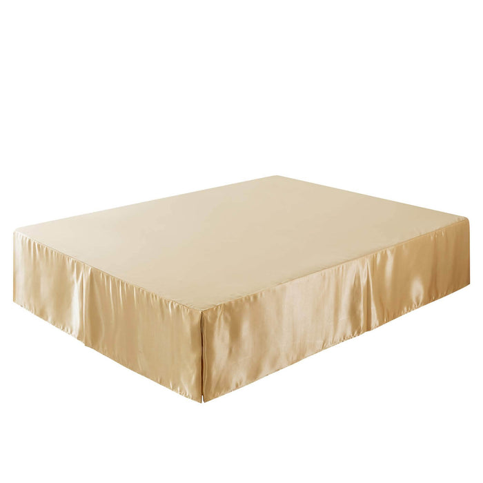 Tache Satin Golden Caramel Latte Bed Skirt (BM4578) - Tache Home Fashion