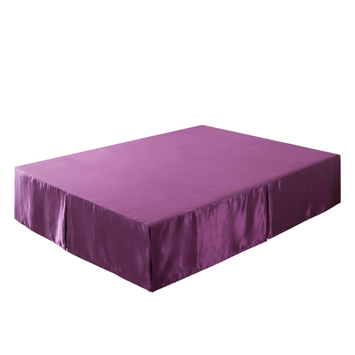 Tache Satin Dark Purple Midnight Bloom Bed Skirt (BM6438) - Tache Home Fashion