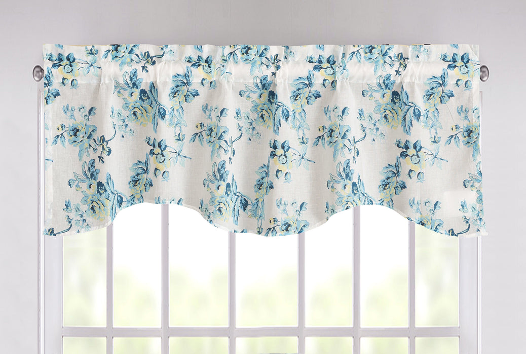 Tache Cotton White Blue Floral Scalloped Petal Dance Sheer Scalloped Window Treatment Valance (JHW-646)
