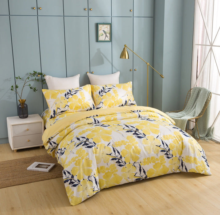Tache Microfiber Contemporary Watercolor Floral Yellow Duvet Cover (JHW-841)