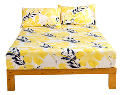 Tache Microfiber Contemporary Watercolor Floral Yellow Fitted Bed Sheet (JHW-841)