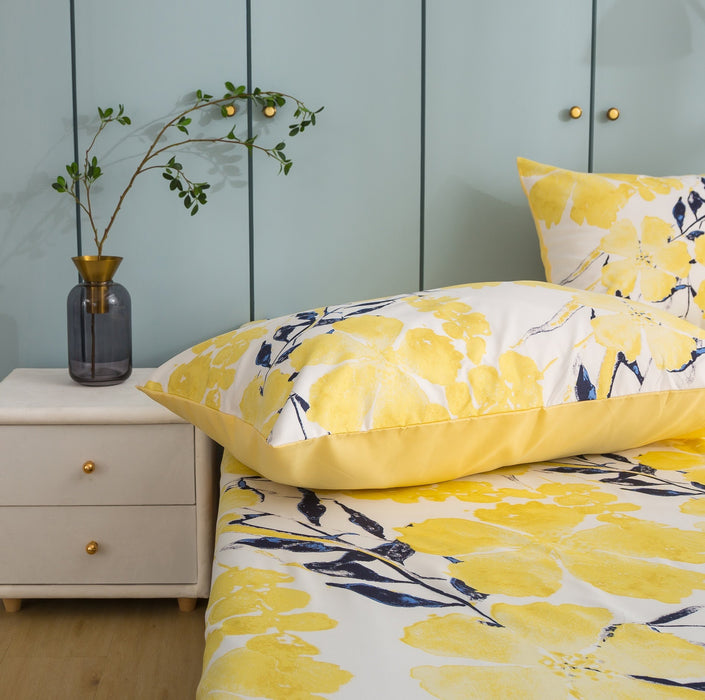 Tache Microfiber Contemporary Watercolor Floral Yellow Pillowcase (JHW-841)