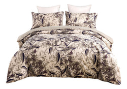 Tache Microfiber Abstract Wispy Leaf Taupe Grey Duvet Cover (JHW-843)